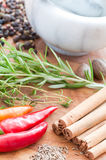 Closeup of spicery and mortar. Different spice in foreground and mortar in background Royalty Free Stock Photography