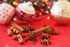 Closeup of spices and Christmas decorations Stock Photos