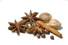Closeup spices cinnamon, anise, nutmeg, allspice  white background stock photo