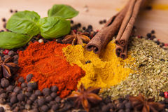 Closeup of spices composition stock image