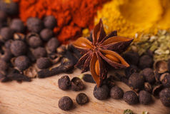 Closeup of spices composition royalty free stock image