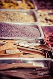 Closeup of spices on sale market. Stock Photo