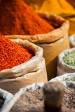 Closeup of spices on sale market. Stock Image