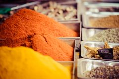 Closeup of spices on sale market. Royalty Free Stock Photos
