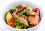 Closeup of spicy chicken Thai basil with seasonal vegetables Royalty Free Stock Images