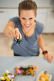 Closeup on spider toy in hand of woman preparing halloween treat. Closeup on spider toy in hand of smiling woman in kitchen preparing halloween treats for kids Stock Photos