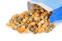 Closeup spilled bag of halloween popcorn Stock Photo