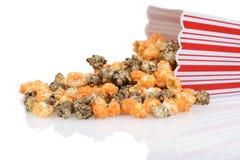 Closeup spilled halloween popcorn Stock Photos