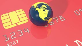 Closeup of spinning earth globe on credit card stock video
