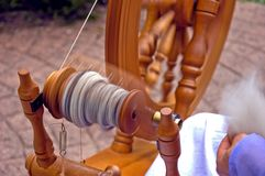 Closeup of Spinning Wheel Royalty Free Stock Photo