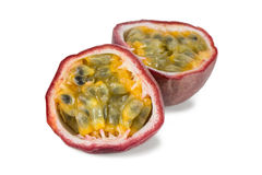 Closeup of a split passion fruit Royalty Free Stock Photography