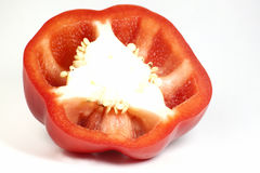 Closeup split red bell pepper fresh Royalty Free Stock Photos