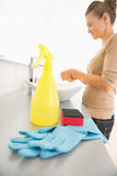 Closeup on sponge; gloves and spray bottle on desk Stock Image