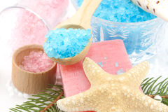 Closeup Of Spoon With Bath Salts Royalty Free Stock Photography