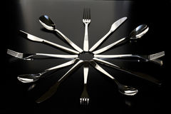 Closeup of spoon, knife and fork Stock Image