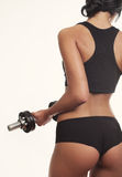 Closeup sport woman beautiful back over white background Royalty Free Stock Photo