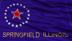 Closeup Springfield Flag. Capital of Illinois State, Flying in the Wind Royalty Free Stock Image