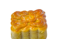 Closeup square  moon cake isolated on white background Royalty Free Stock Photo