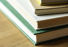 Closeup of stack of antique books educational, academic and literary concept Royalty Free Stock Images