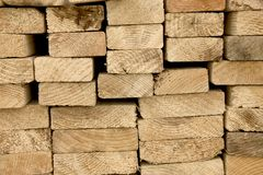 Closeup of stack of boards. End grain of boards Stock Photos