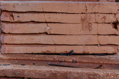 Closeup of Stack Bricks. Royalty Free Stock Images