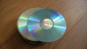 Closeup of a stack compact discs. stock video
