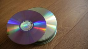 Closeup of a stack compact discs. stock footage
