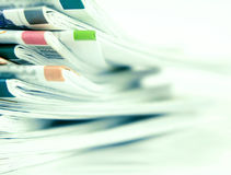 Closeup stack of newspaper Stock Images