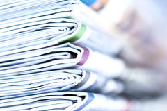 Closeup stack of newspaper. With selective focus Royalty Free Stock Photography