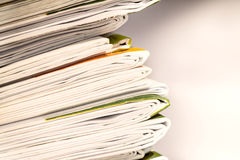 Closeup stack of newspaper. With selective focus Royalty Free Stock Image
