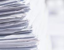 Closeup stack of newspaper Stock Photos