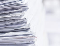 Closeup stack of newspaper. With selective focus Stock Photos