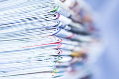 Closeup stack of newspaper. With vignette Stock Photo