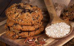Stack of Oatmeal Raisin Cookies on a Wooden Board Stock Image