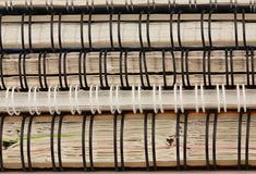 Closeup of stack of old, used notebooks with the springs.  stock image