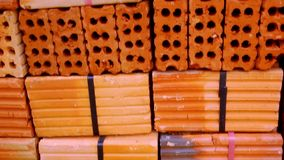 Closeup of Stack of Raw Bricks. Macro video shift. Up motion 1920*1080 stock footage