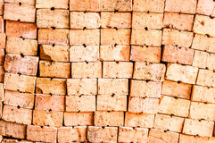 Closeup of Stack of red Bricks Royalty Free Stock Photo