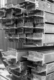 Closeup stack of steel bar heap with lug. Steel construction. Black and white. BW.  Royalty Free Stock Image