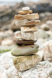 A stack of stones on the beach Royalty Free Stock Photo