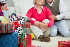 Closeup Of Stacked Christmas Gifts Royalty Free Stock Photography