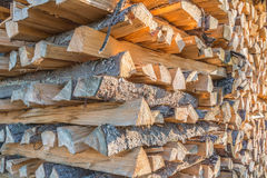Closeup of stacked wood Royalty Free Stock Photos