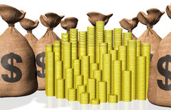 Stacks of coins and bags of money Royalty Free Stock Images