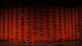 Closeup of stage and curtains for video green screen background Stock Images
