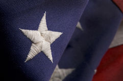 Closeup of a star on an America Flag Stock Photography