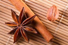 Closeup star anise, cinnamon bark and hazelnut stock photos