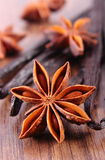 Closeup of star anise and fragrant vanilla on wooden surface plank Royalty Free Stock Image