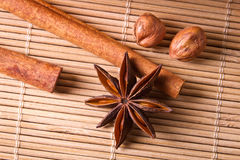 Closeup star anise and nuts stock image