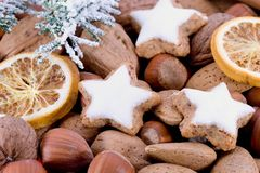 Closeup of star-shaped cinnamon biscuit Royalty Free Stock Photos