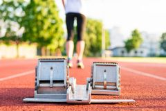 Closeup of a starting block. Royalty Free Stock Photo