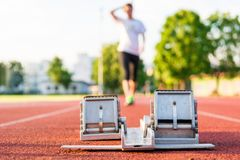 Closeup of a starting block. Royalty Free Stock Images